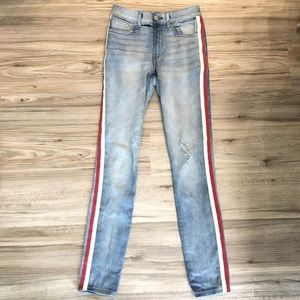 Express Red & Cream Side Stripe Jeans
